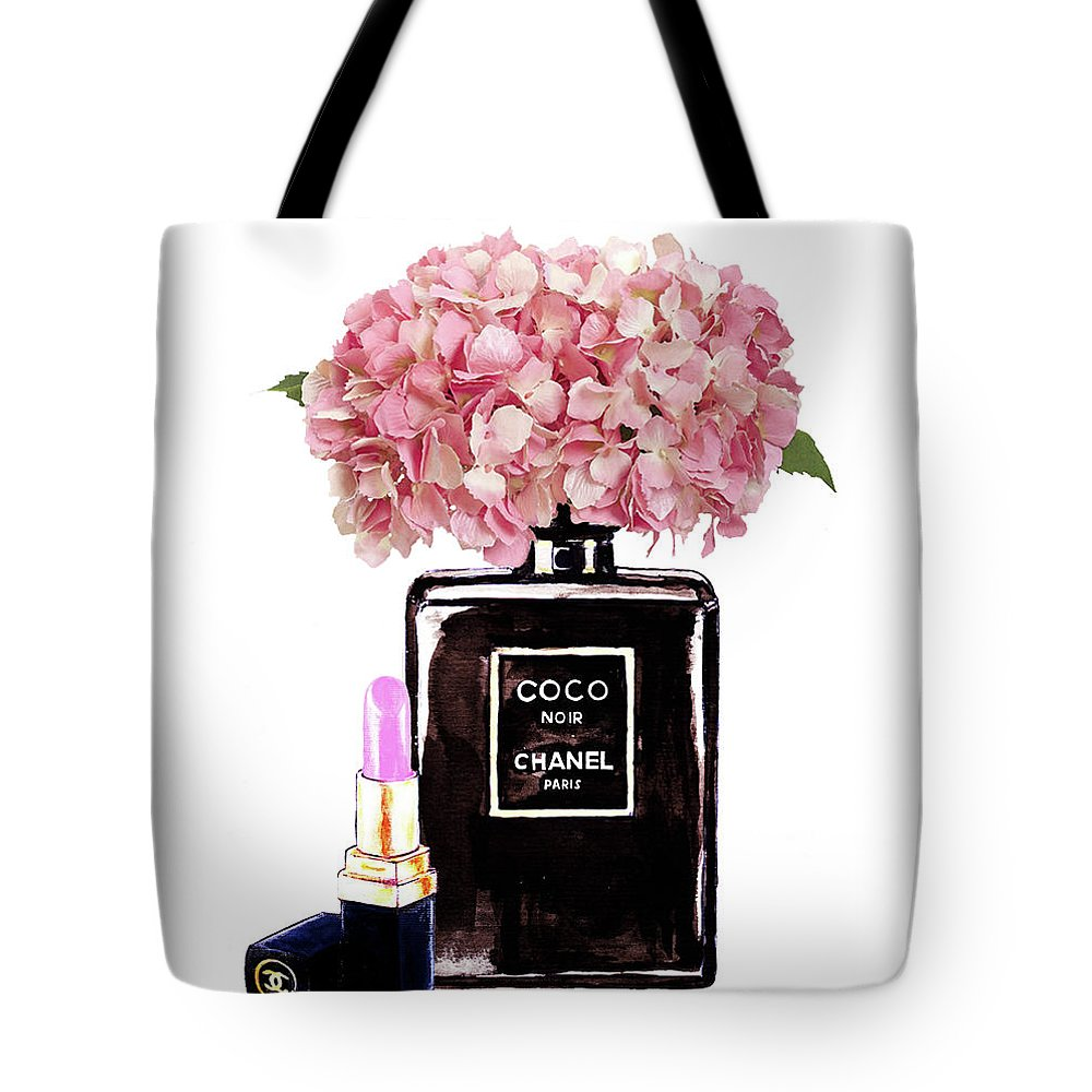 404dad8f58813b Chanel Perfume With Pink Hydragenia 2 Tote Bag for Sale by Del Art