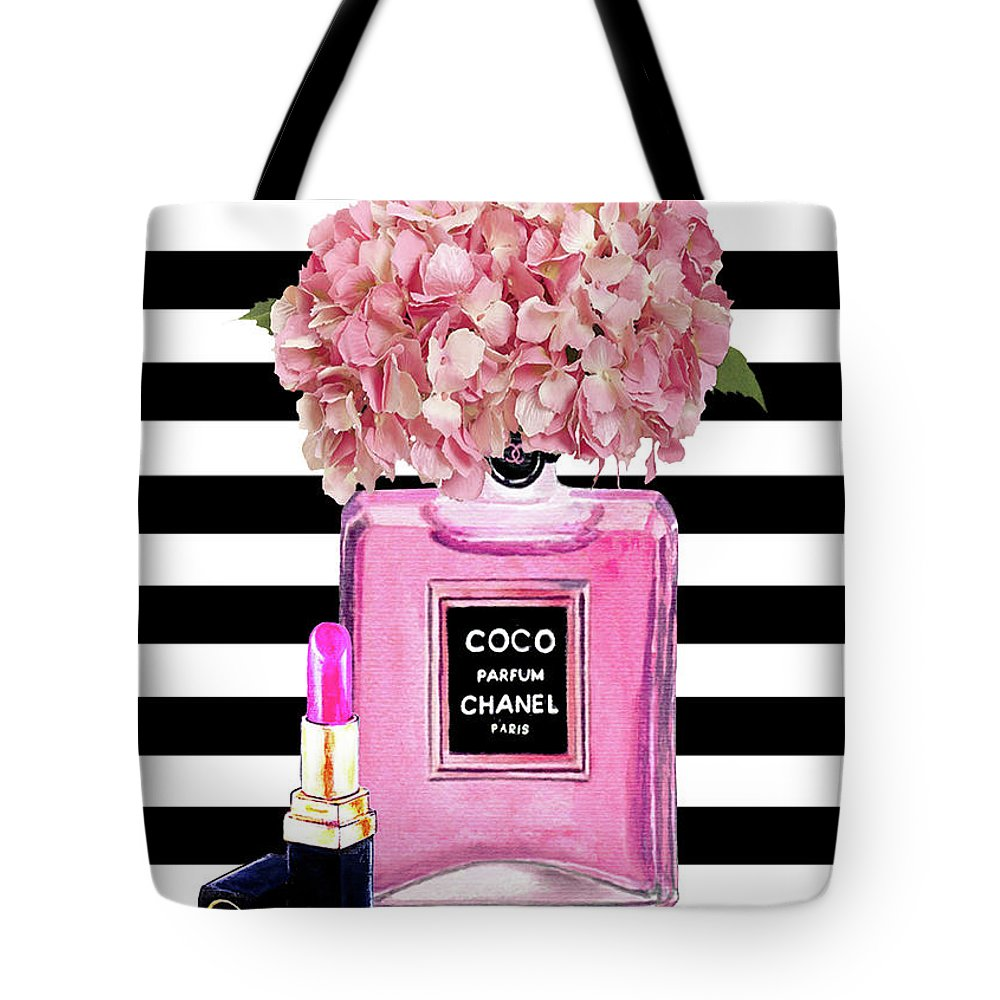 4100d55f1a517f Chanel Poster Pink Perfume Hydrangea Print Tote Bag for Sale by Del Art