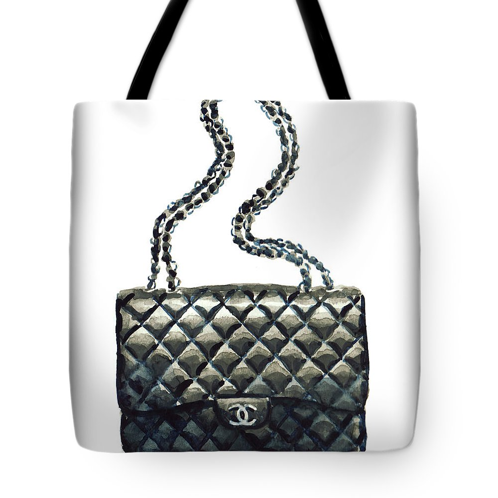 dca3ac98a Chanel Handbag Tote Bag featuring the painting Chanel Quilted Handbag  Classic Watercolor Fashion Illustration Coco Quotes