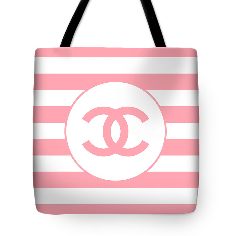 ecbf6c58cf5 Chanel Tote Bag featuring the digital art Chanel - Stripe Pattern - Pink -  Fashion And