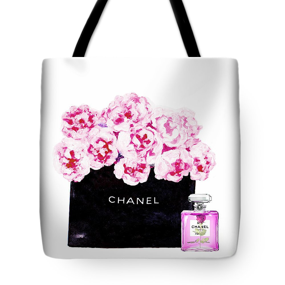 Chanel Art Print Tote Bag featuring the mixed media Chanel With Flowers by Del Art