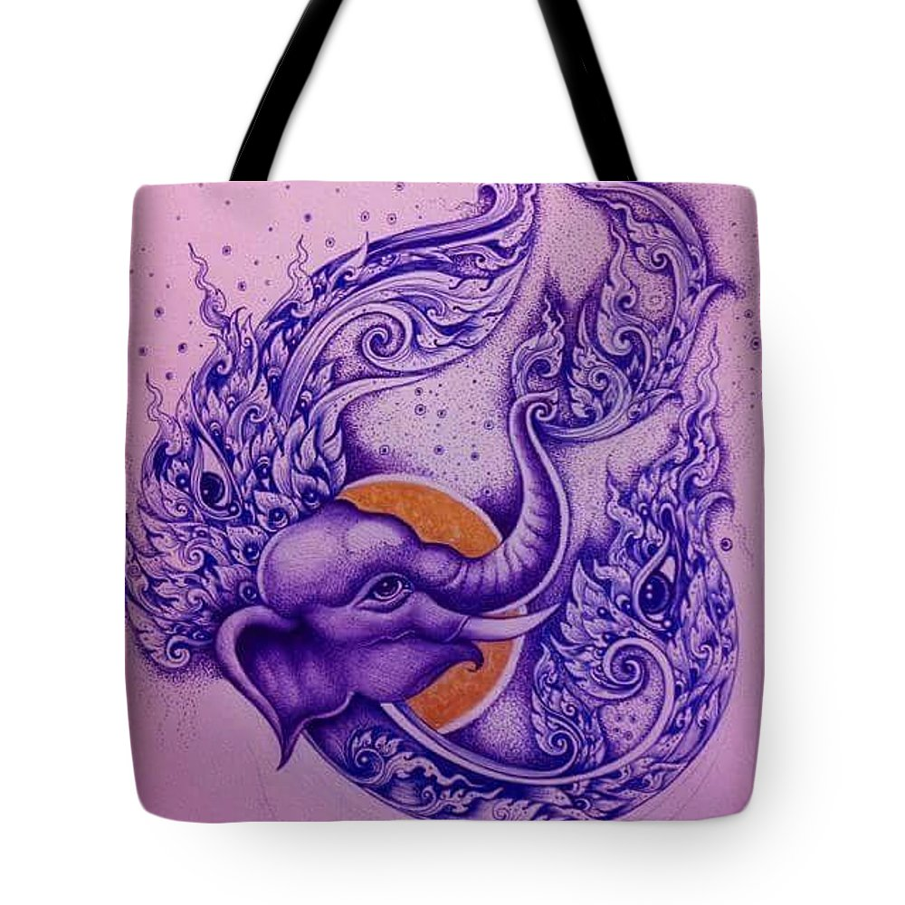 Chang Tote Bag featuring the painting Chang Thai by Piman Wongsangnoi