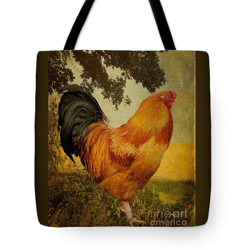 Chanticleer Tote Bag featuring the photograph Chanticleer by Lois Bryan