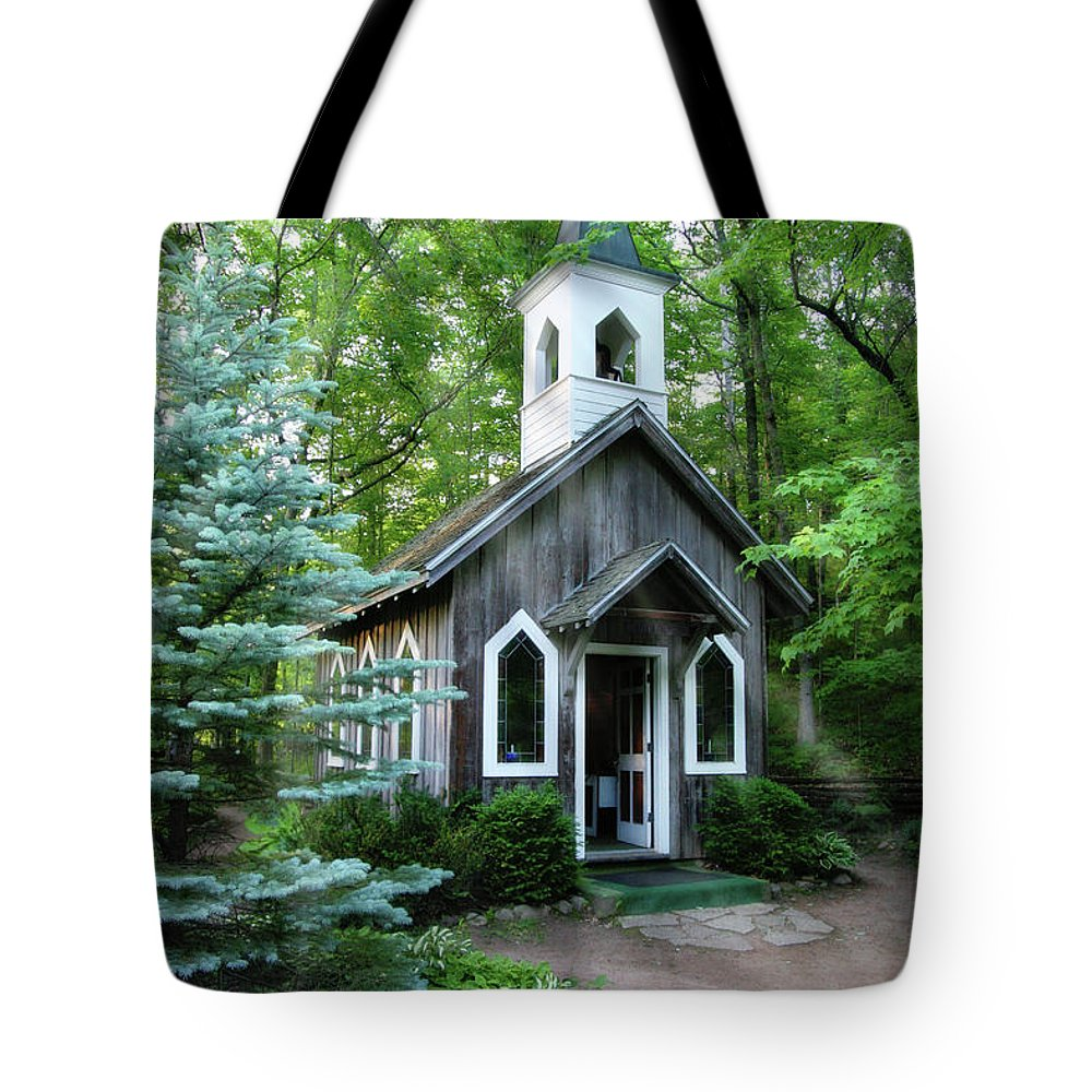 Chapel Tote Bag featuring the photograph Chapel In The Woods by Joel Witmeyer