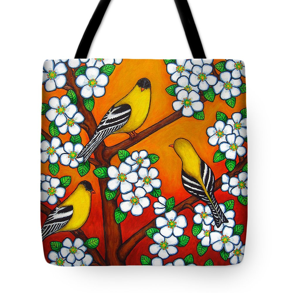 Goldfinch Tote Bag featuring the painting Chardonnay Sunset by Lisa Lorenz