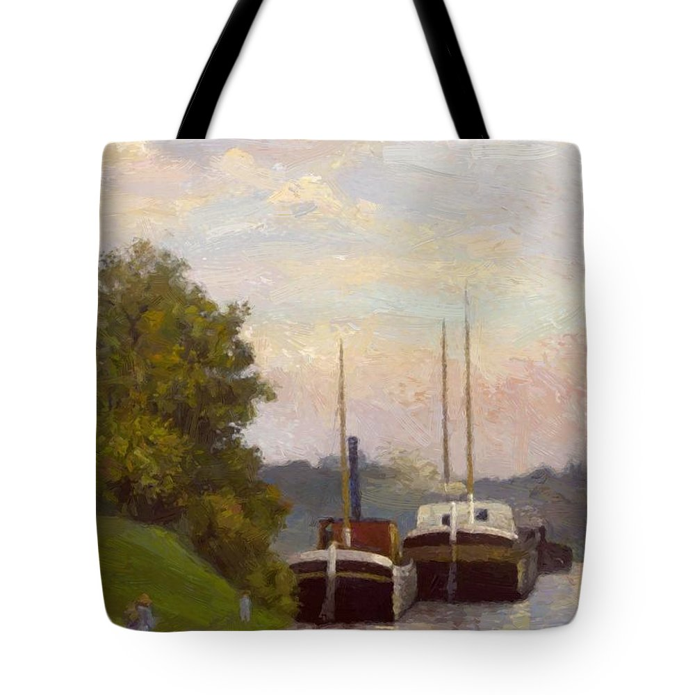 Charlands Tote Bag featuring the painting Charlands Sur La Seine 1885 by DuboisPillet Albert