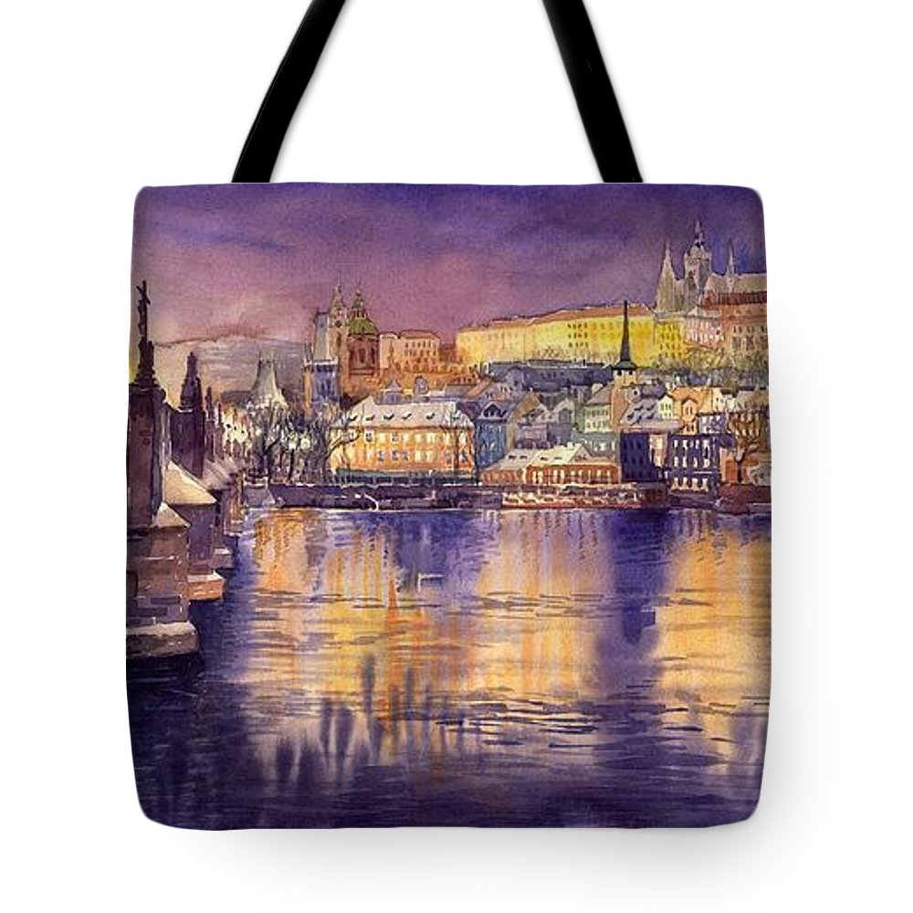 Cityscape Tote Bag featuring the painting Charles Bridge And Prague Castle With The Vltava River by Yuriy Shevchuk