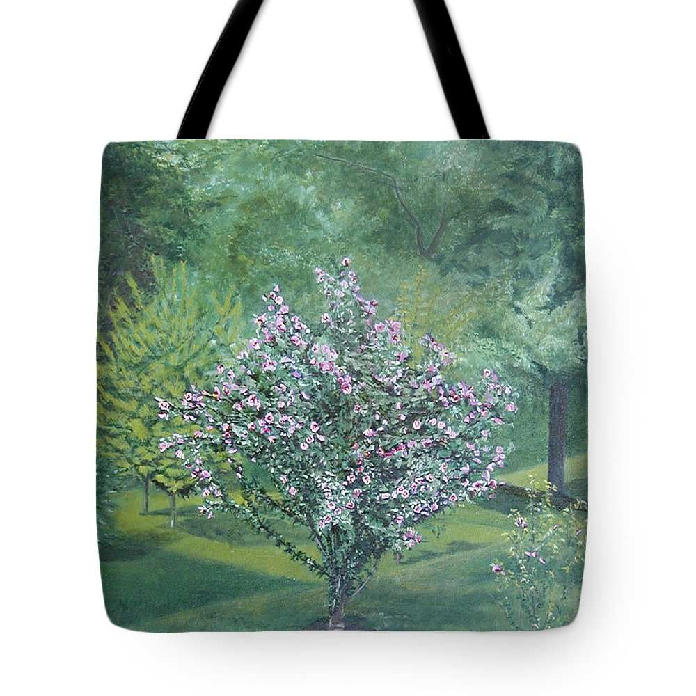 Blooming Tote Bag featuring the painting Charles Street by Leah Tomaino