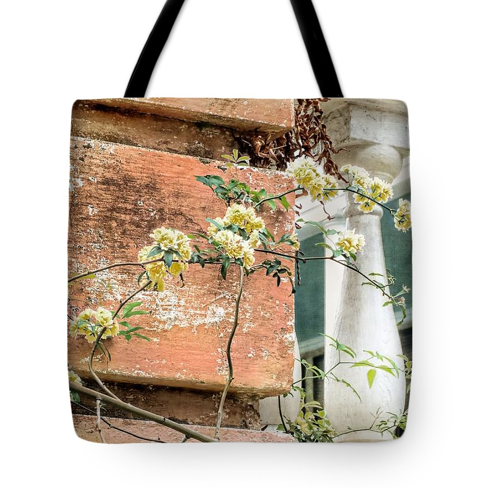 Climbing Yellow Rose Tote Bag featuring the photograph Charleston Climbing Rose by Melissa Bittinger