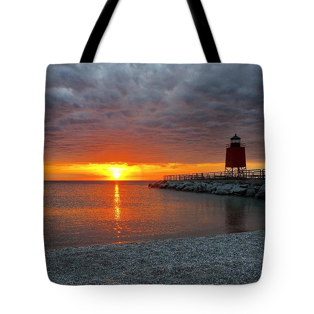Charlevoix Tote Bag featuring the photograph Charlevoix Sunset by Megan Noble