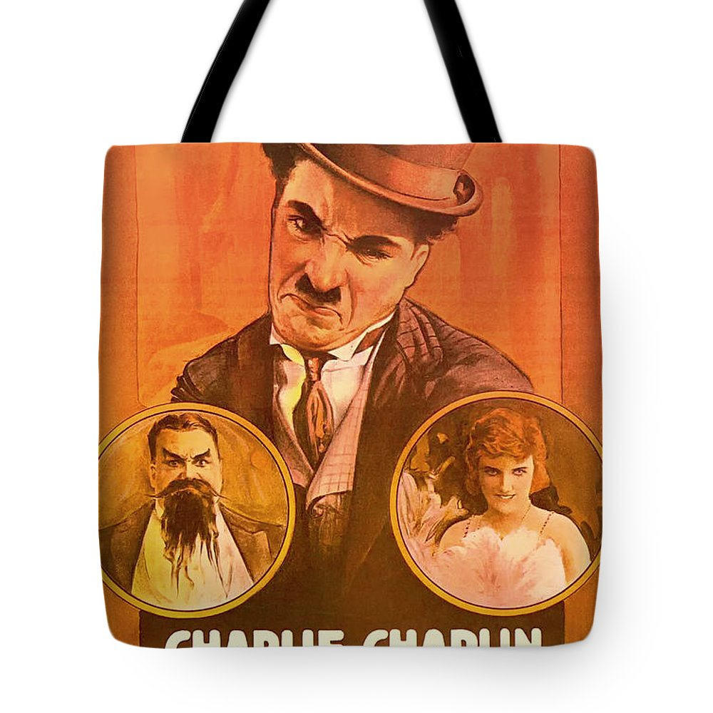 Movie Tote Bag featuring the mixed media Charlie Chaplin - The Adventurer 1917 by Mountain Dreams