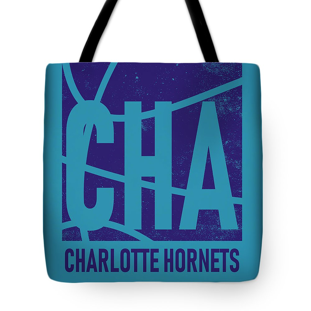 Hornets Tote Bag featuring the mixed media Charlotte Hornets City Poster Art by Joe Hamilton