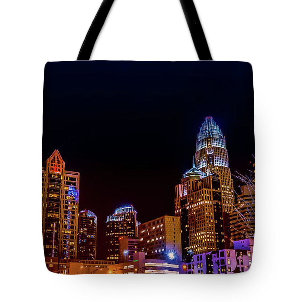 City Tote Bag featuring the photograph Charlotte Skyline At Night by Ant Pruitt