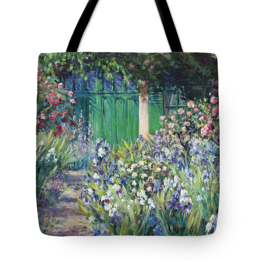 Monet Tote Bag featuring the painting Charmed Entry - Monet by L Diane Johnson