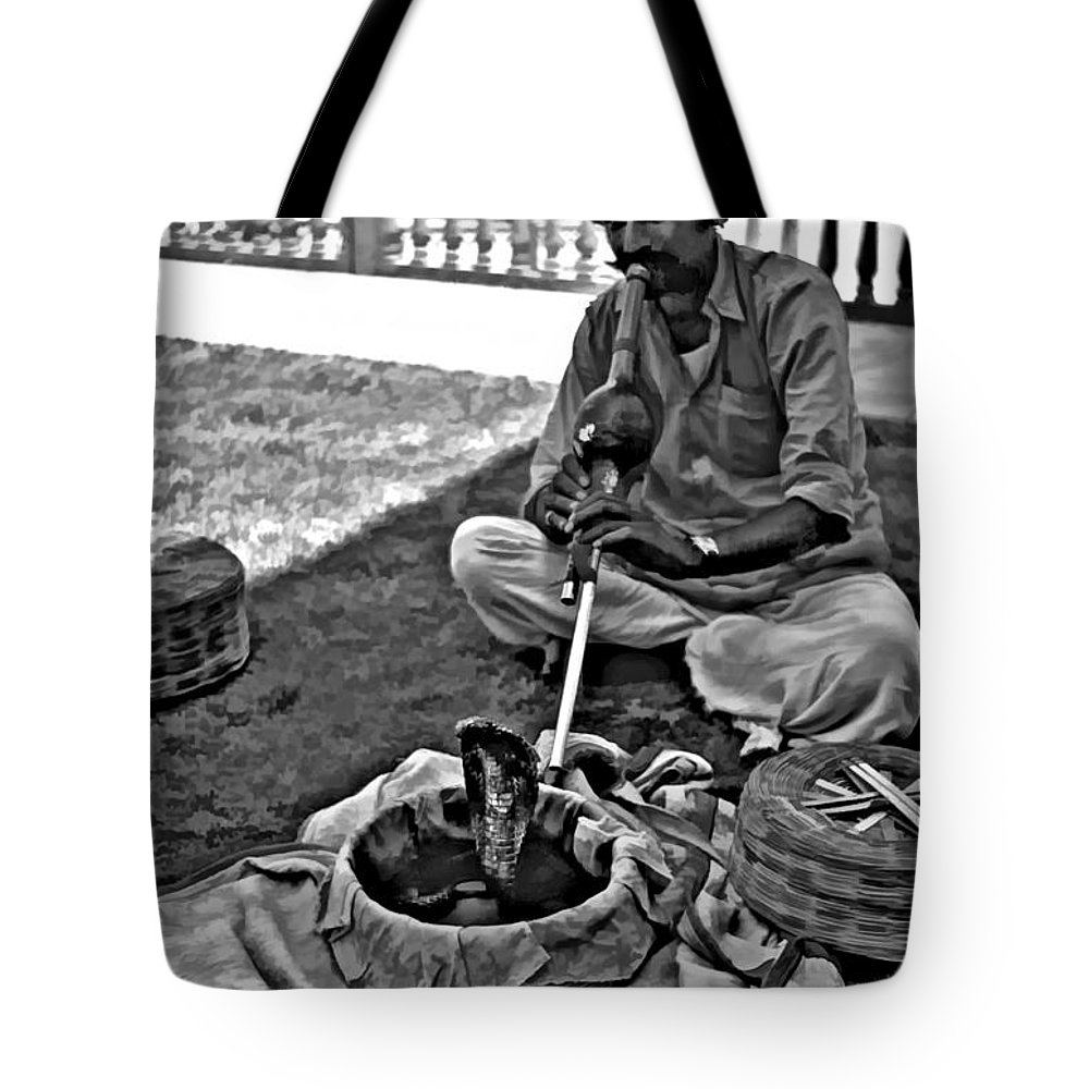 Rajasthan Tote Bag featuring the photograph Charming Monochrome by Steve Harrington