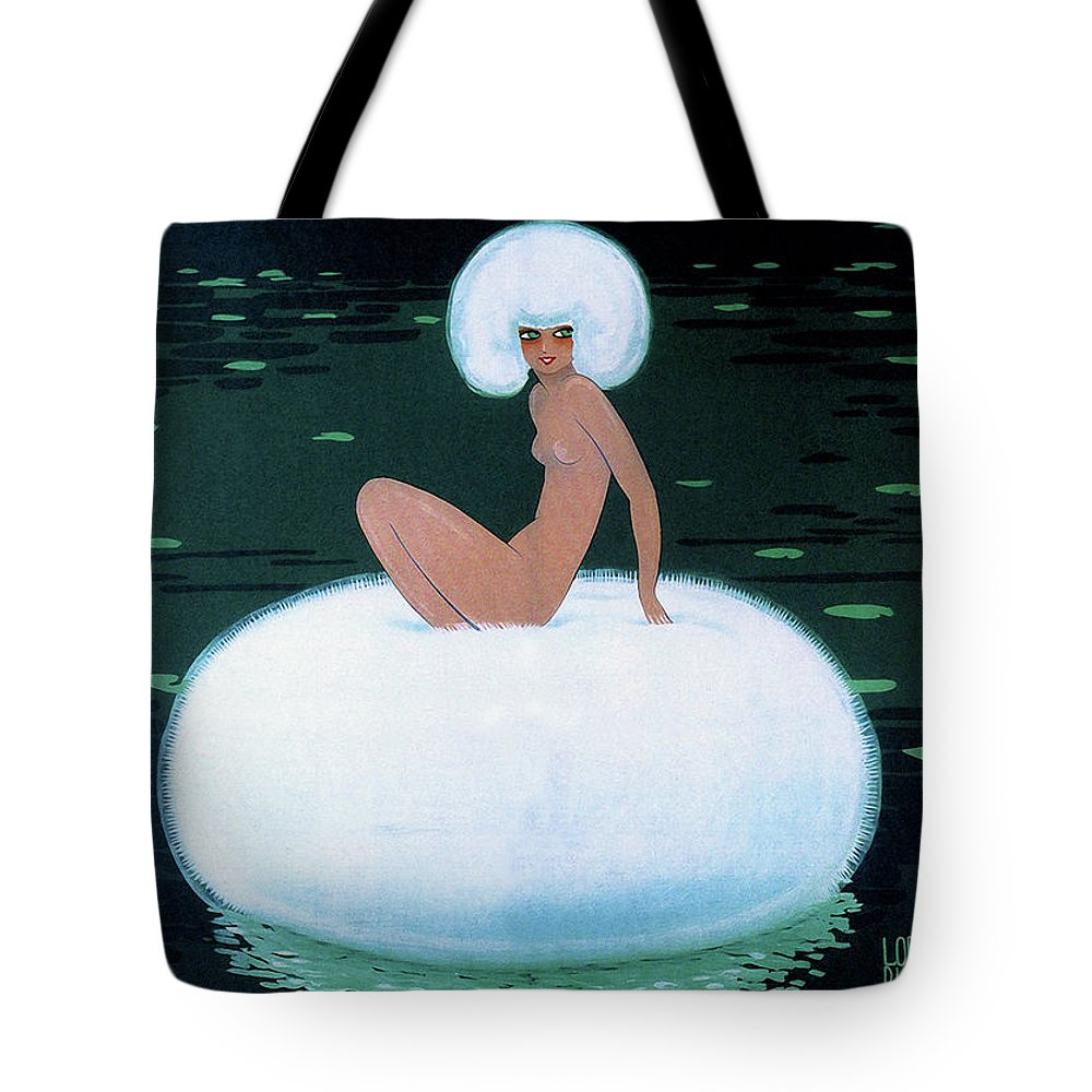 Vintage Fashion Tote Bag featuring the photograph Charming Vintage Powder Puff Woman Fashion Art, 1920s by Tina Lavoie