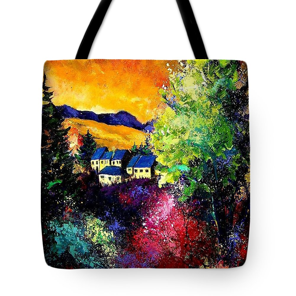 Landscape Tote Bag featuring the painting Charnoy by Pol Ledent