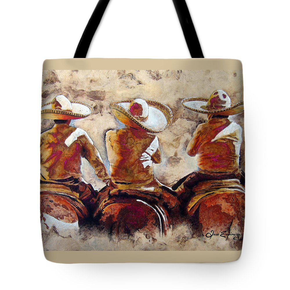 Charros Tote Bag featuring the painting 3 . C H A R R O . F R I E N D S by J - O  N  E