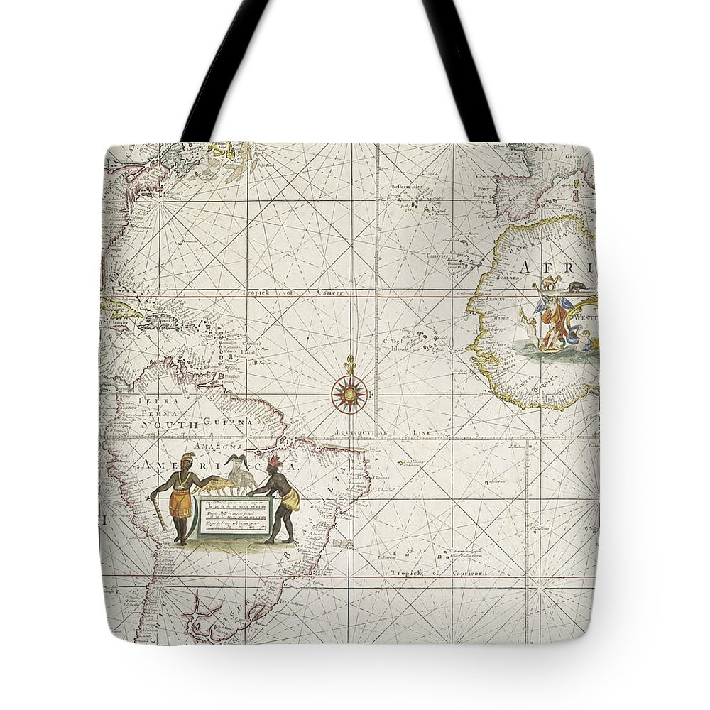 Map Tote Bag featuring the drawing Chart Of The Atlantic Ocean by English School
