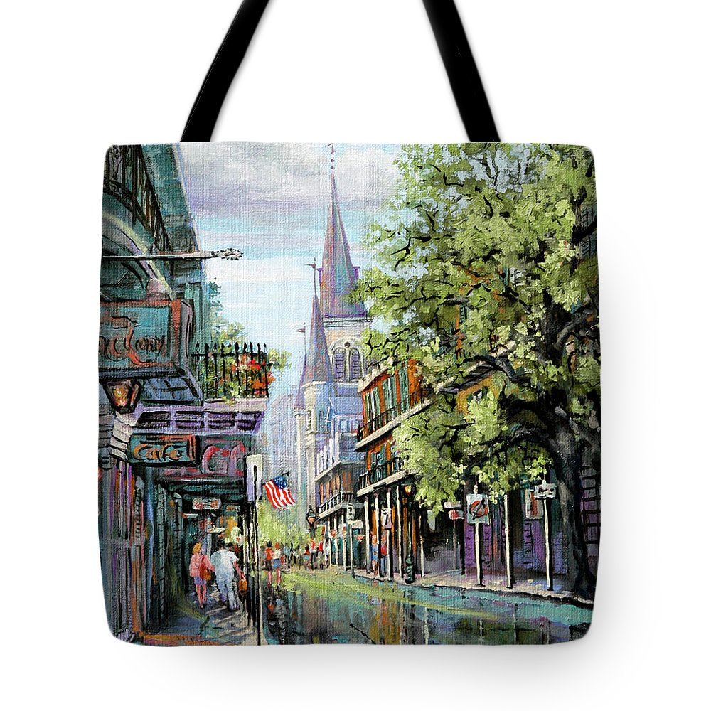 St. Louis Cathedral Tote Bag featuring the painting Chartres Rain by Dianne Parks