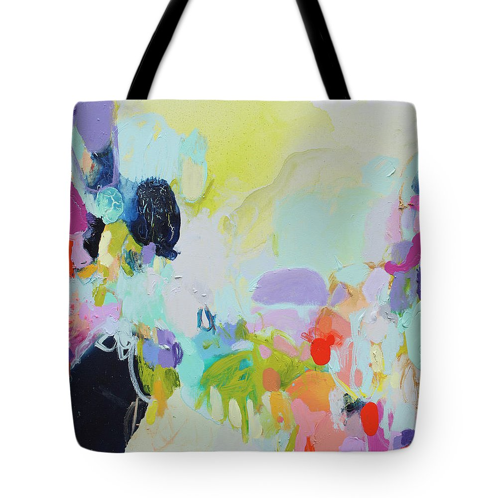Abstract Tote Bag featuring the painting Chartreuse Stop by Claire Desjardins