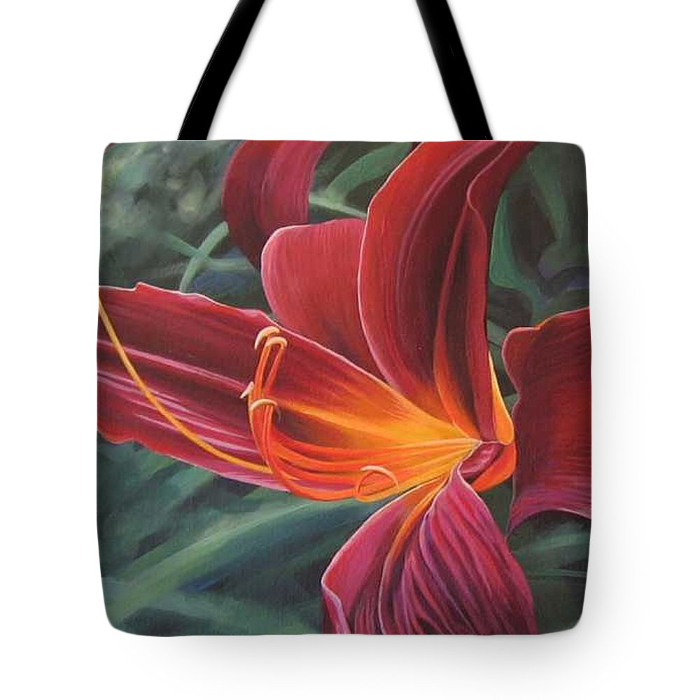 Lily Near Cheesman Park Tote Bag featuring the painting Chase The Sun by Hunter Jay