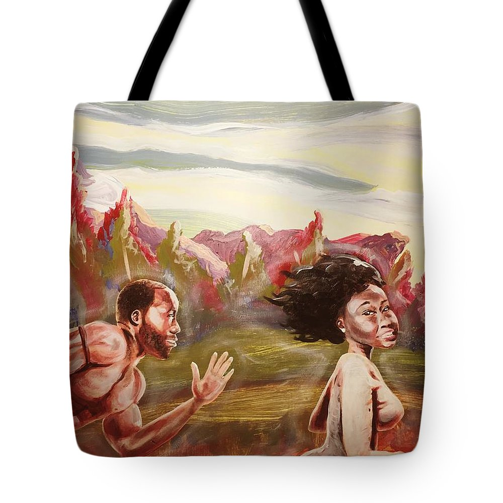 Love Tote Bag featuring the painting Chasing Love by Sean Ivy aka Afro Art Ivy
