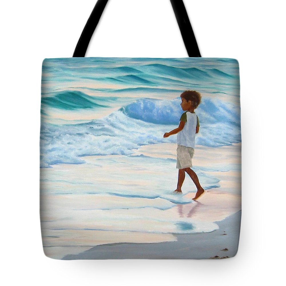 Child Tote Bag featuring the painting Chasing The Waves by Lea Novak