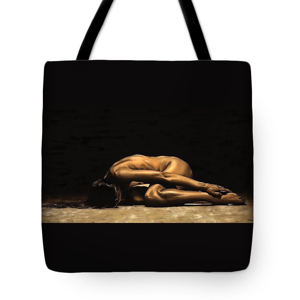 Nude Tote Bag featuring the painting Chastity by Richard Young