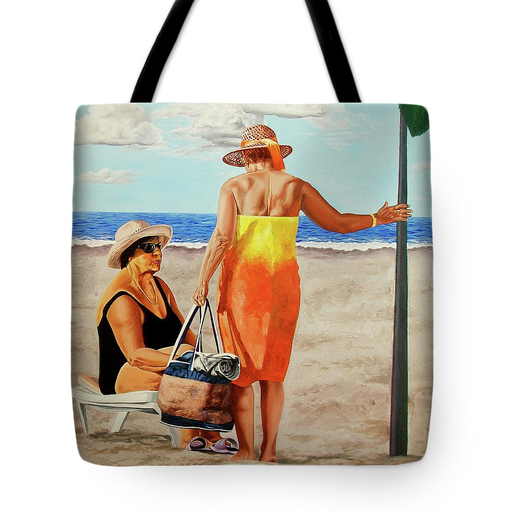 Woman Tote Bag featuring the painting Chat On The Beach - Chat En La Playa by Rezzan Erguvan-Onal