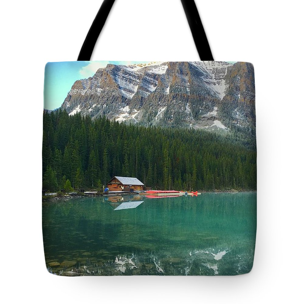 Banff Tote Bag featuring the photograph Chateau Boat House by Jacqueline Faust