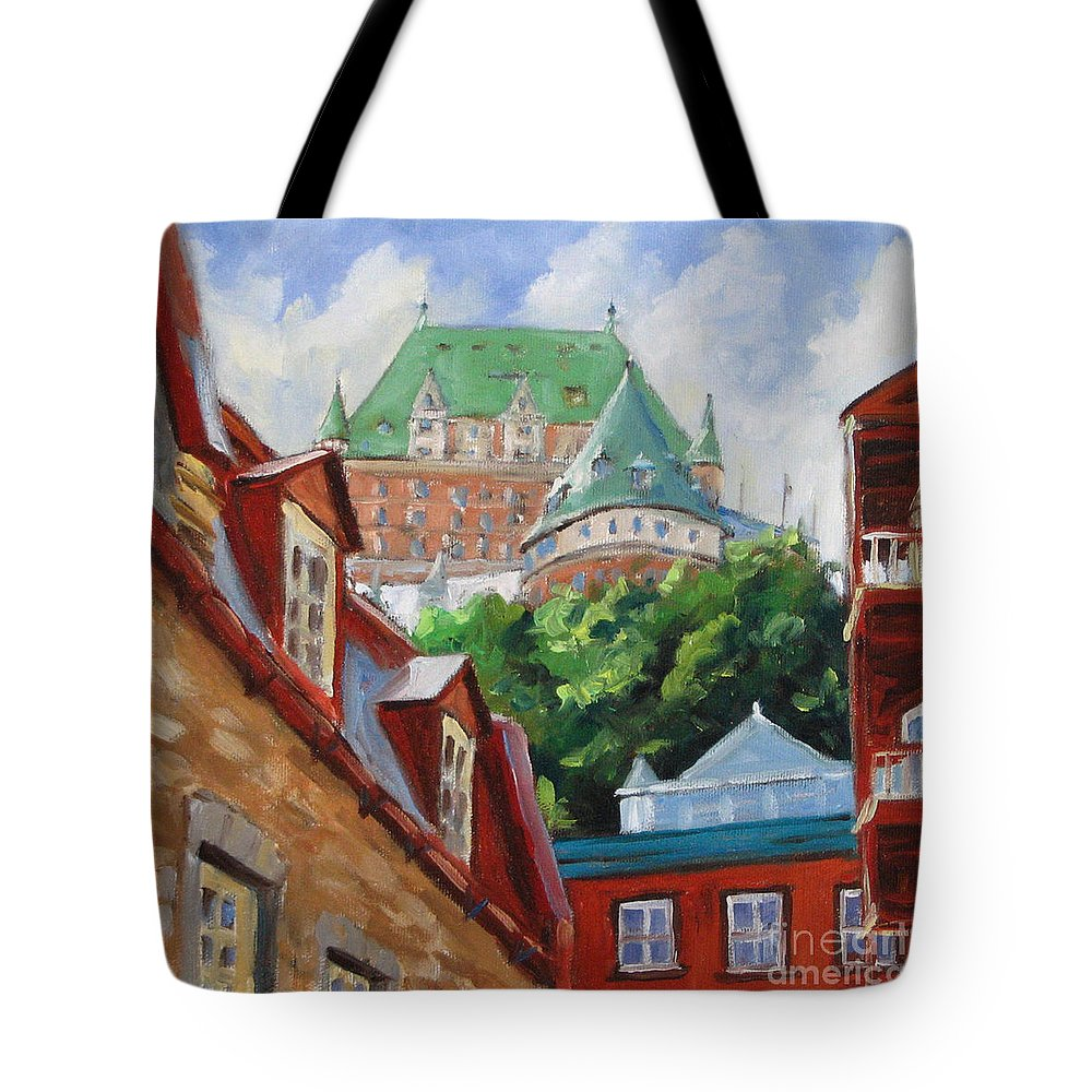 Chateau Frontenac Tote Bag featuring the painting Chateau Frontenac by Richard T Pranke