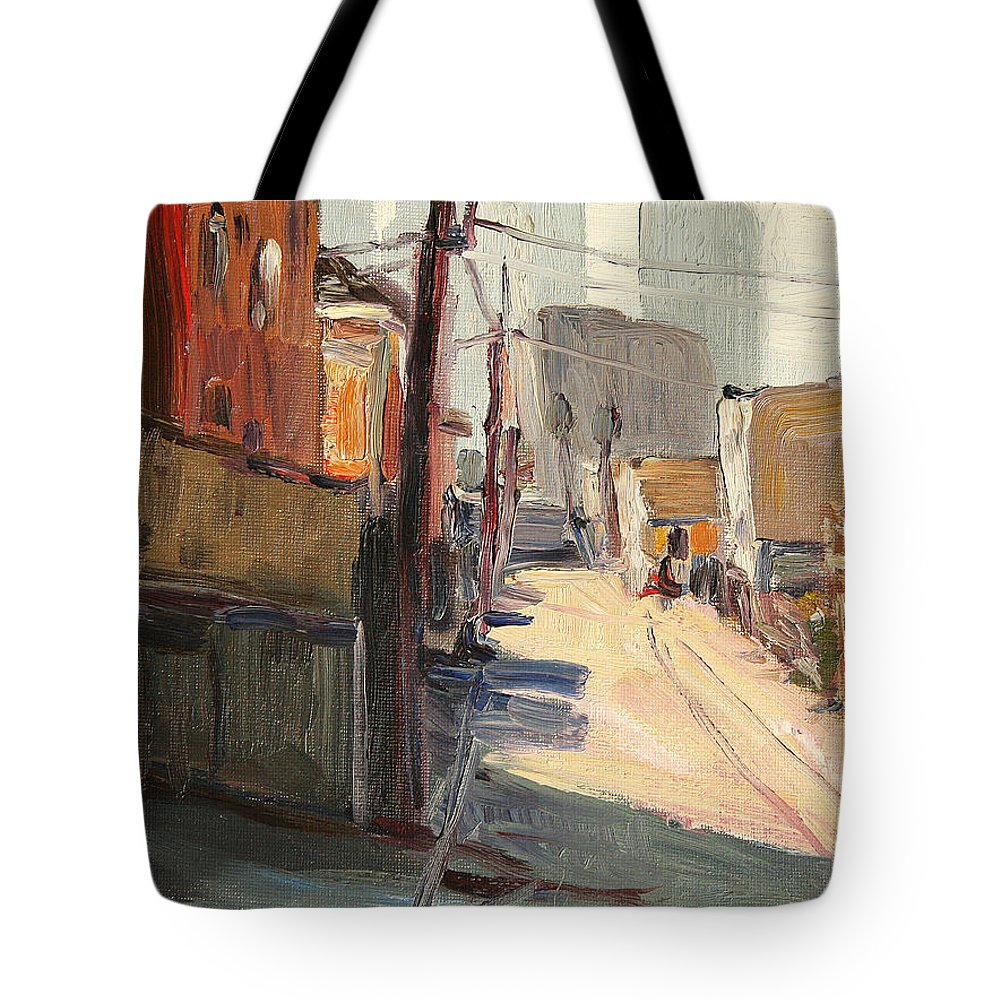 Tote Bag featuring the painting Chavez Alley by John Matthew