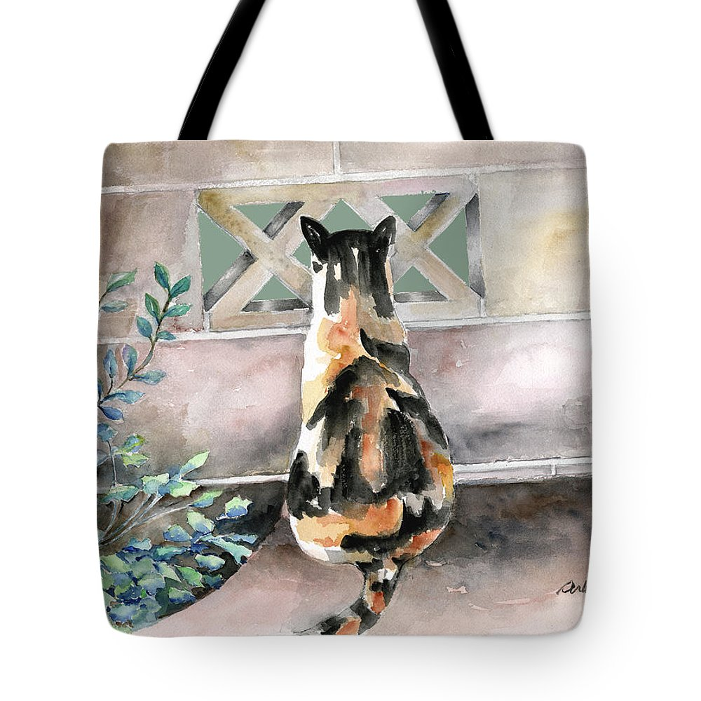 Cat Tote Bag featuring the painting Checking Out The Neighbors Backyard by Arline Wagner