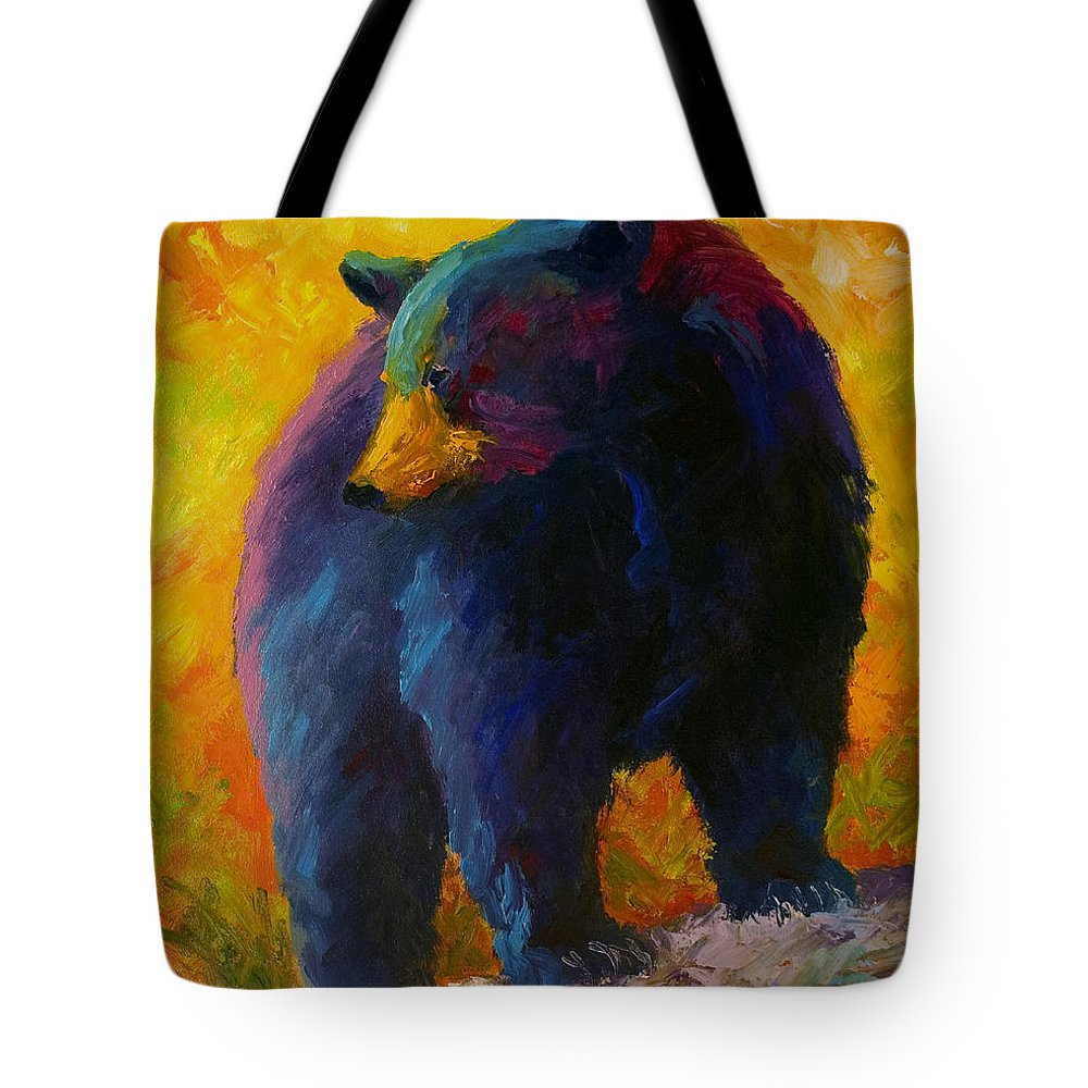 Western Tote Bag featuring the painting Checking The Smorg - Black Bear by Marion Rose