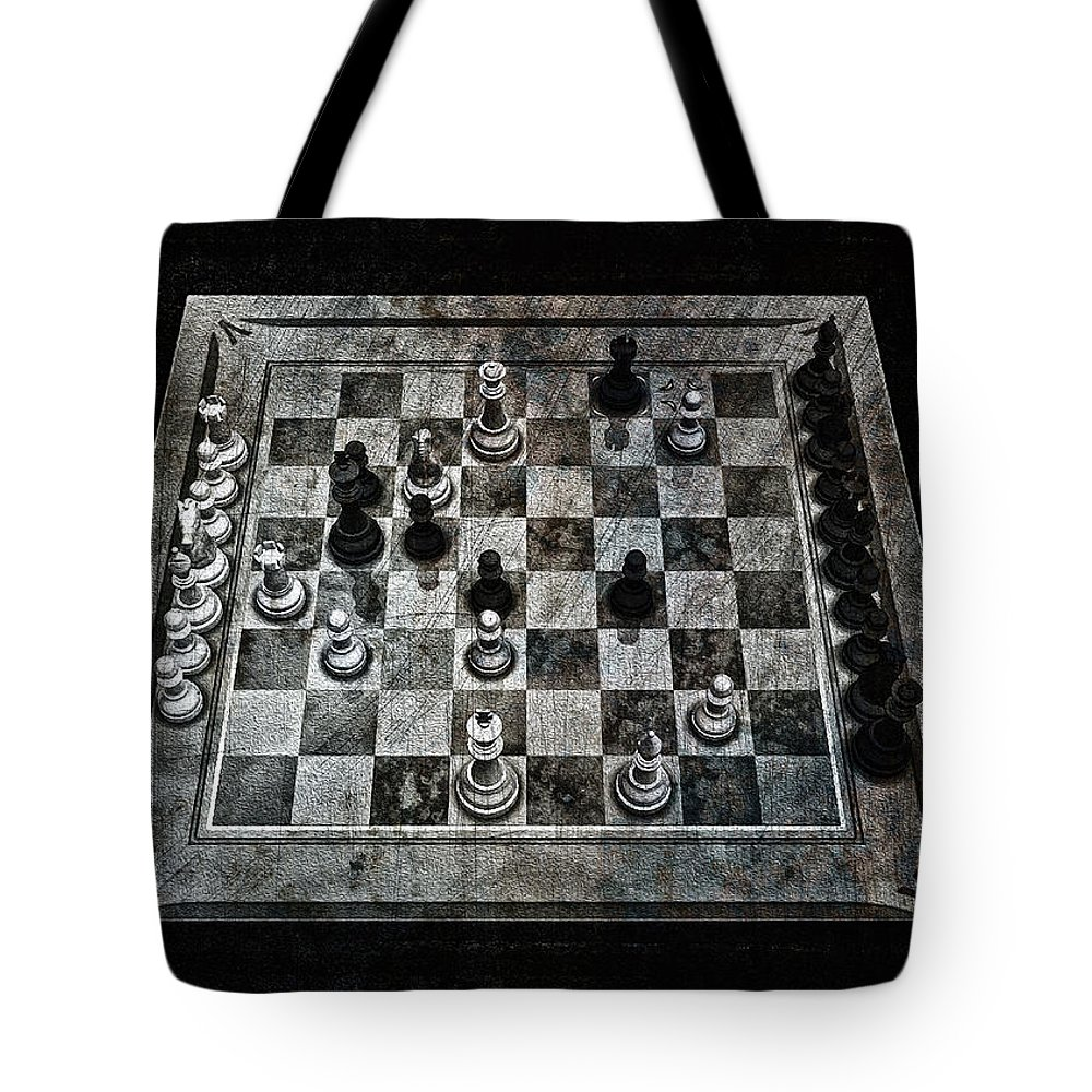 Checkmate In One Move Tote Bag featuring the digital art Checkmate In One Move by Ramon Martinez