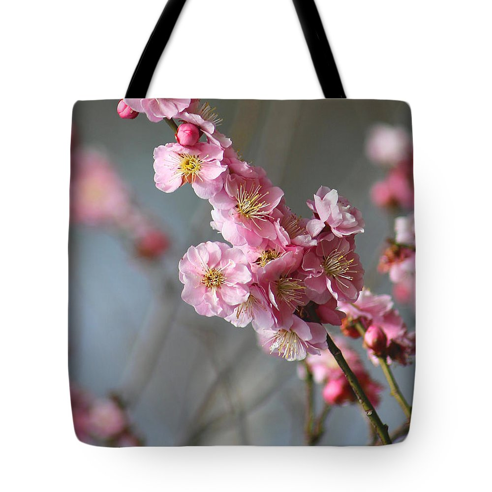 Cherry Blossoms Tote Bag featuring the photograph Cheerful Cherry Blossoms by Living Color Photography Lorraine Lynch