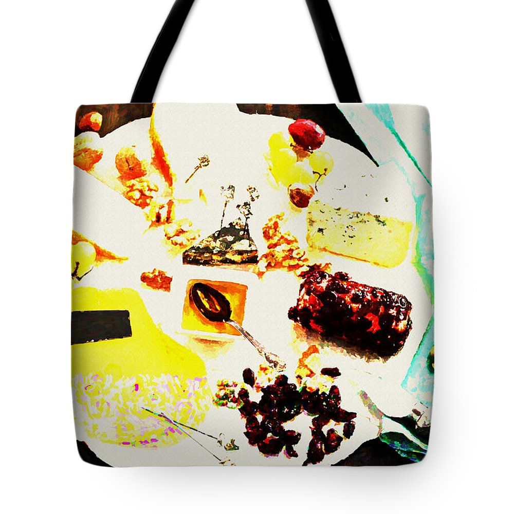 Cheese Tote Bag featuring the digital art Cheese by Lora Battle