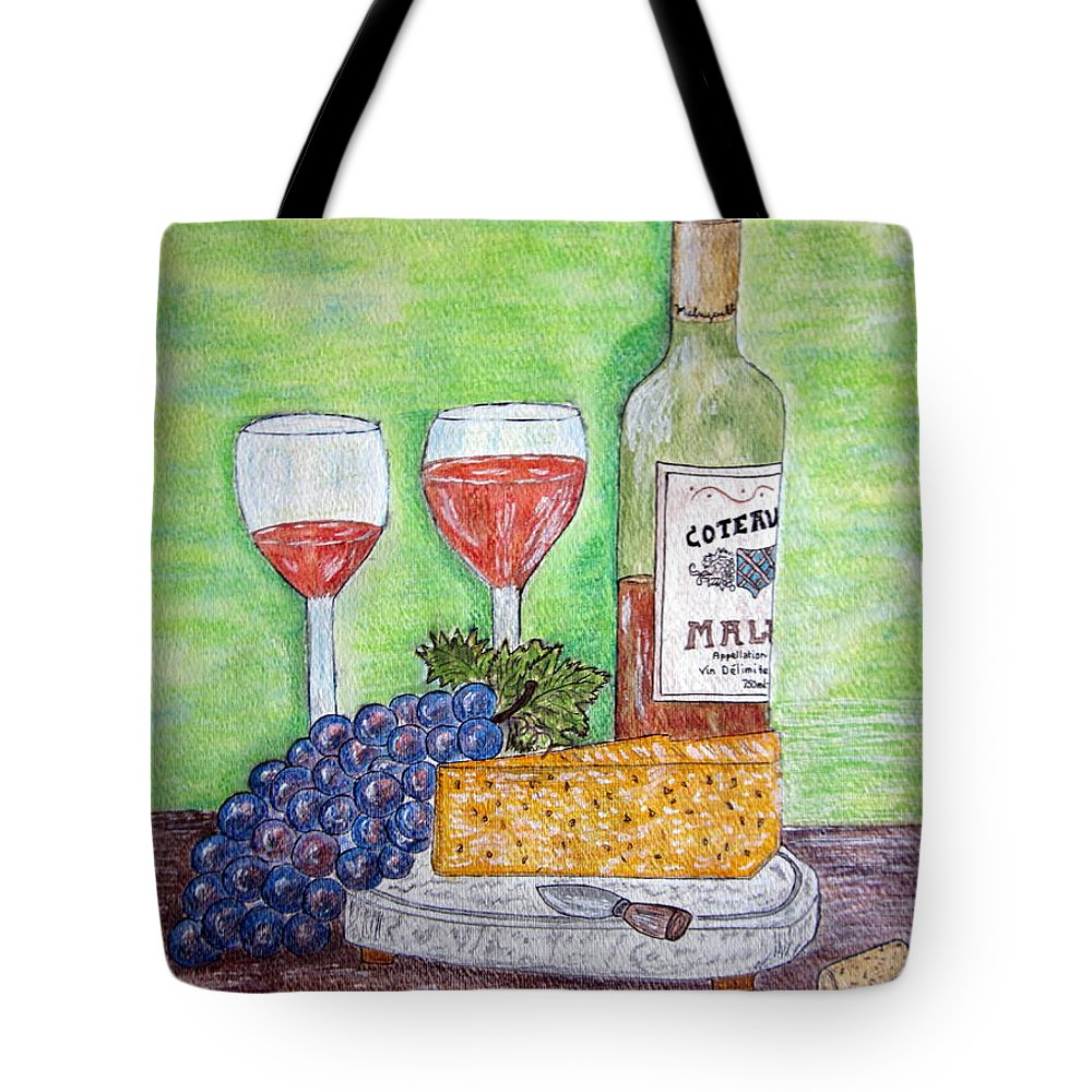 Cheese Tote Bag featuring the painting Cheese Wine And Grapes by Kathy Marrs Chandler