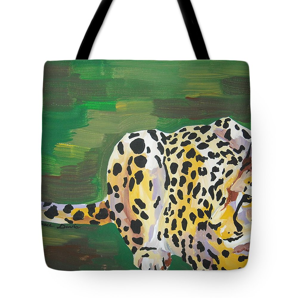 Cheetah Tote Bag featuring the painting Cheetah by Caroline Davis