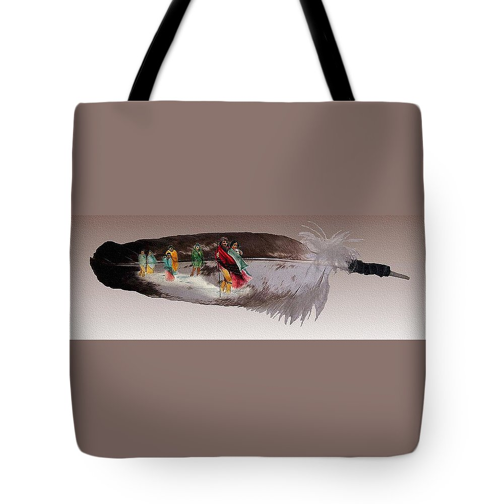 Cherokee Tote Bag featuring the mixed media Cherokee By Blood by John Guthrie