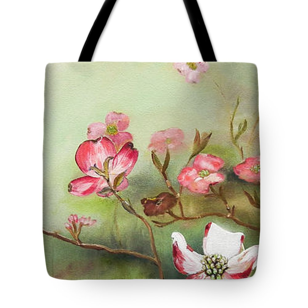 Cherokee Dogwood Tote Bag featuring the painting Cherokee Dogwood - Brave- Blushing by Jan Dappen