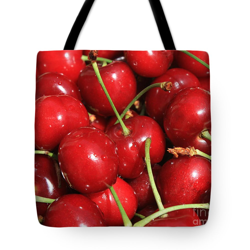 Food And Beverages Tote Bag featuring the photograph Cherries by Carol Groenen