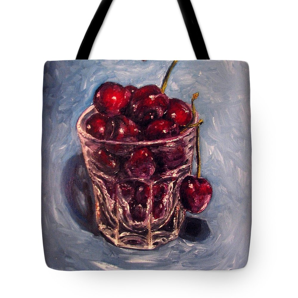 Red Tote Bag featuring the painting Cherries Original Oil Painting by Natalja Picugina