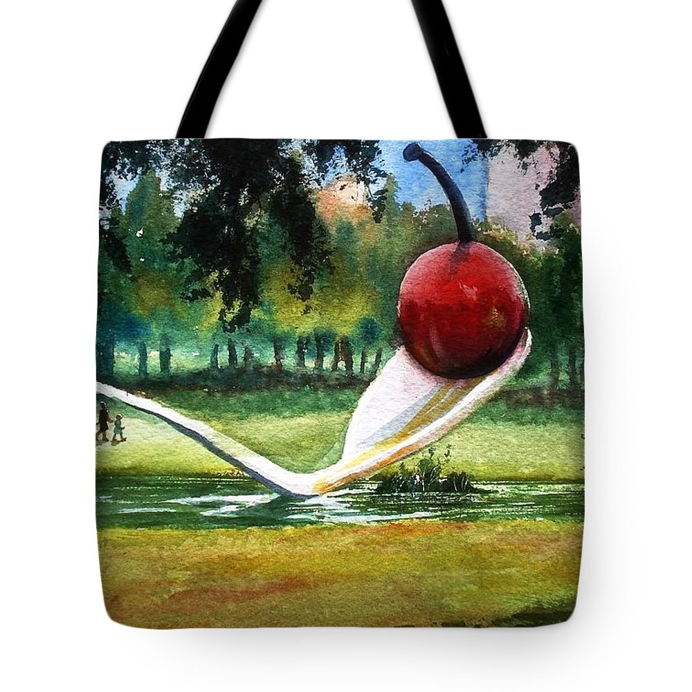Cherry & Spoon Tote Bag featuring the painting Cherry And Spoon by Marilyn Jacobson