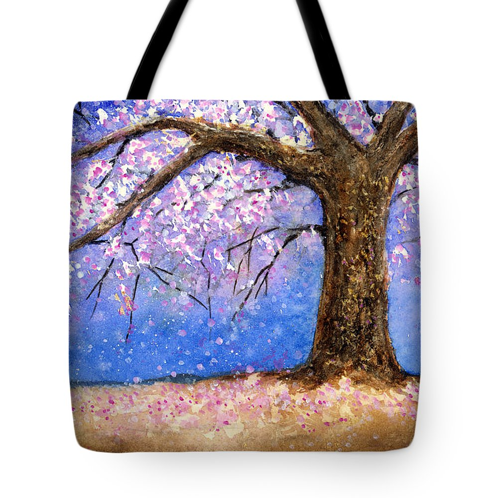 Cherry Blossom Tote Bag featuring the painting Cherry Blossom by Hailey E Herrera