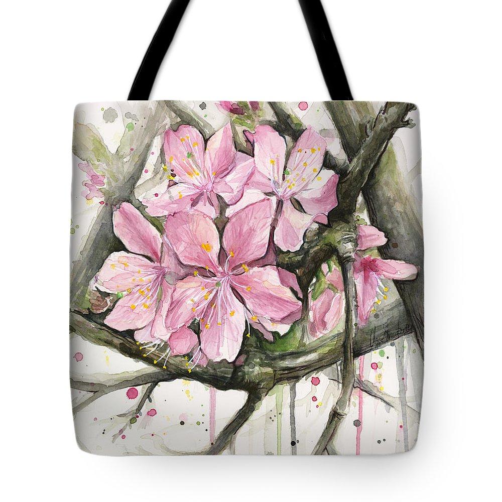 Blooming Tree Paintings Tote Bags