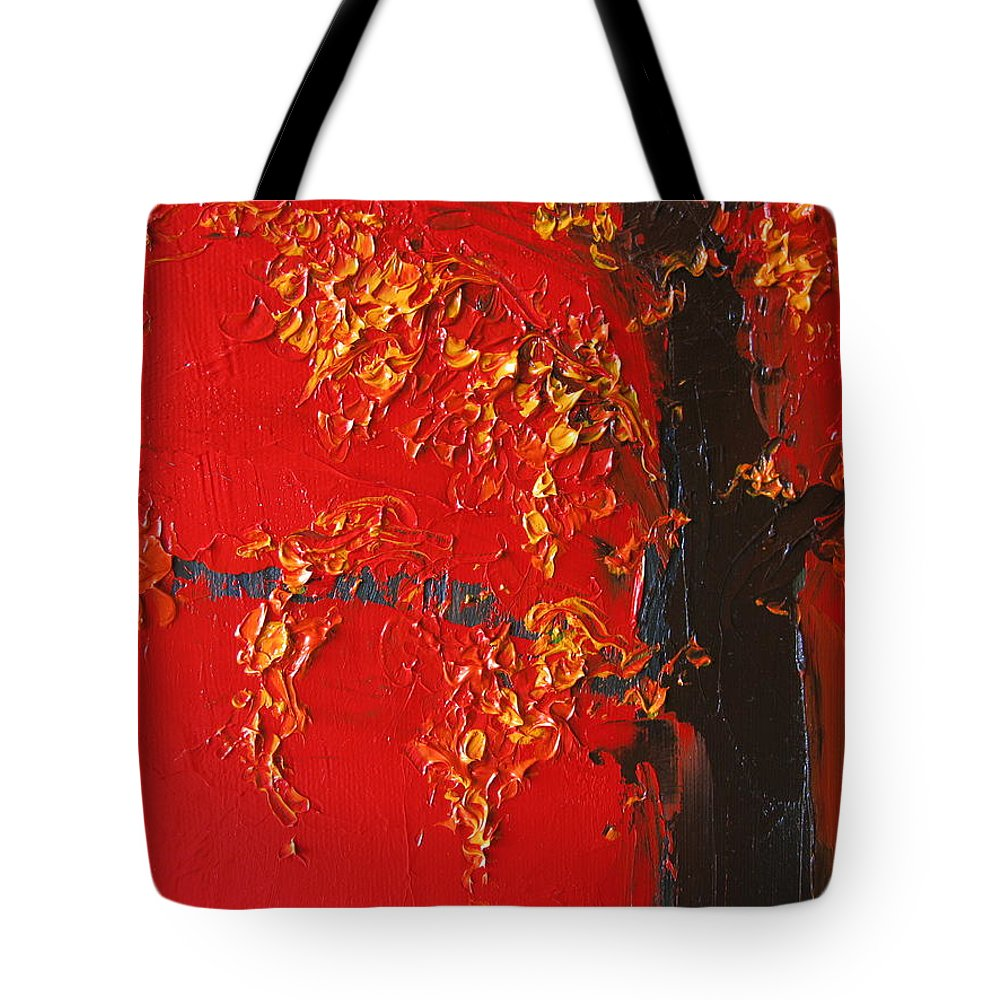 Landscape Tote Bag featuring the painting Cherry Blossom Tree - Red Yellow by Patricia Awapara