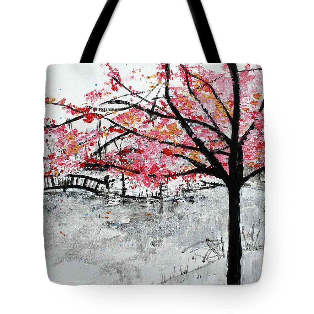 Cherry Blossoms Tote Bag featuring the painting Cherry Blossoms And Bridge Meadowlark Botanical Gardens 201728 by Alyse Radenovic