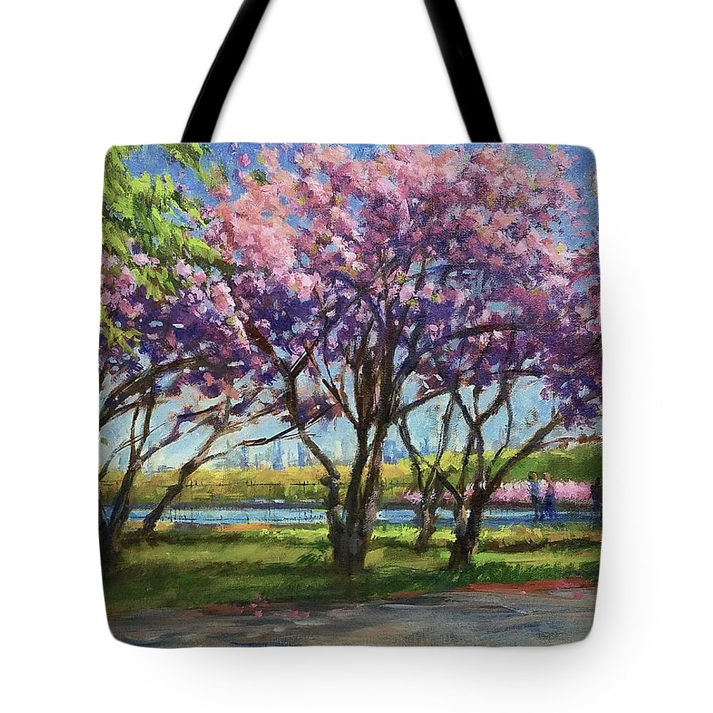 New York Landscape Tote Bag featuring the painting Cherry Blossoms, Central Park by Peter Salwen